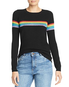 Madeleine Thompson - Metallic-Rainbow-Stripe Cashmere Crewneck Sweater