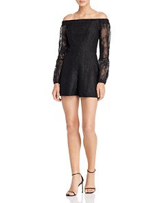 GUESS - Montrese Off-the-Shoulder Lace Romper