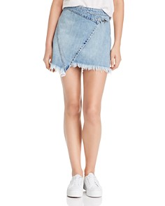 BLANKNYC - Faux-Wrap Denim Mini Skirt