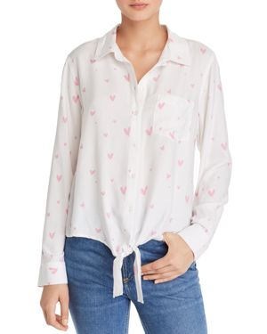 AQUA Heart Print Tie-Front Shirt - 100% Exclusive in Pink Heart
