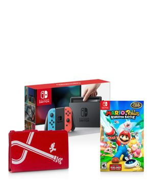 Image of Nintendo Switch with Neon Blue & Neon Red Joy-Con Controllers - Mario Rabbids Kingdom Battle Game & Hybrid Cover Bundle