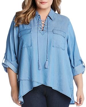Karen Kane Plus Lace-Up Chambray Shirt