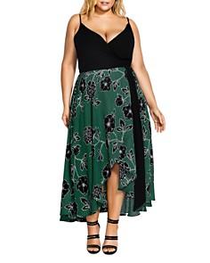 City Chic Plus - Varsity Stripe Floral Wrap Dress