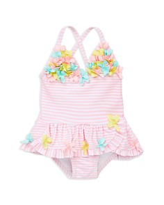 Little Me - Girls' 3D-Floral Multi-Pink Swimsuit - Baby