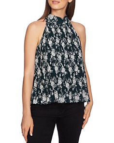 1.STATE - Floral Pleated Chiffon Top