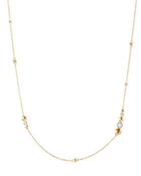 "JOHN HARDY - 18K Yellow Gold Dot Hammered Station Necklace with Diamond Pavé, 36"""