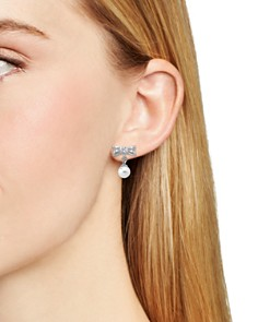 Majorica - Simulated Pearl Bow Drop Earrings in Sterling Silver