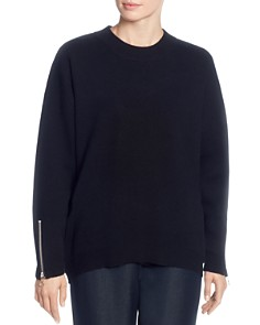 T Tahari - Crewneck Zip-Cuff Sweater