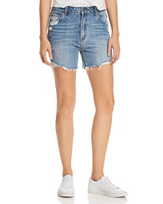 PAIGE - Sarah Cutoff Denim Shorts in Haddie Destructed