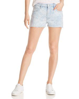 Frame Le Grand Garcon Raw-Edge Denim Shorts in Cloud