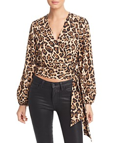 Marled - Leopard Print Wrap Blouse
