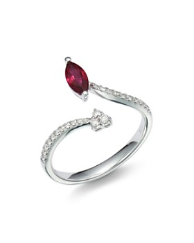 Bloomingdale's - Ruby & Diamond Bypass Ring in 14K White Gold - 100% Exclusive