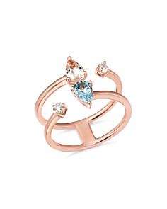 Bloomingdale's - Aquamarine, Morganite & Diamond Ring in 14K Rose Gold - 100% Exclusive