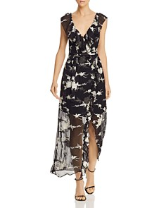 Bardot - Floral Embroidered Faux-Wrap Maxi Dress