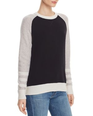 AQUA Cashmere Stripe Color-Block Sweater - 100% Exclusive in Black/Dove