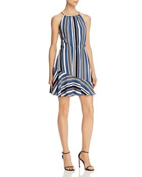 AQUA - Directional Stripe Flounce Dress - 100% Exclusive