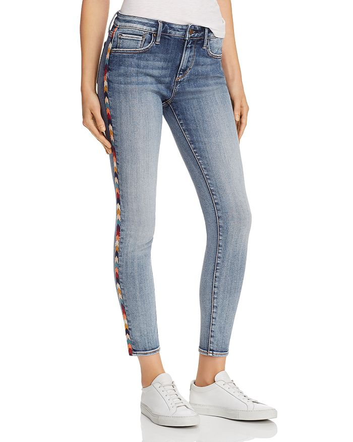 AQUA - Arrow Embroidered Skinny Jeans in Medium Wash - 100% Exclusive