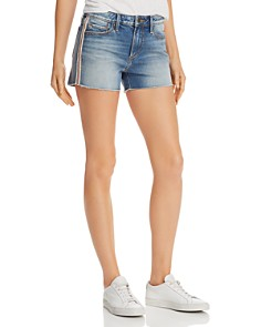 AQUA - Track Stripe Denim Shorts in Light Wash - 100% Exclusive
