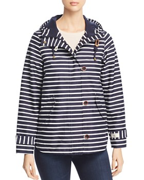 Joules - Coast Print Striped Raincoat