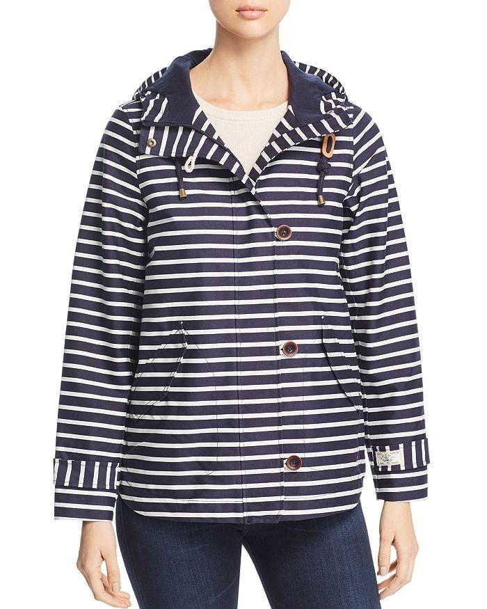 Joules Coast Print Striped Raincoat In Navy Cream Stripe