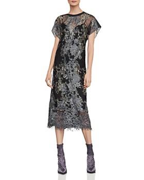BCBGMAXAZRIA - Metallic Embroidered Midi Dress ... 1bff2453ce7a