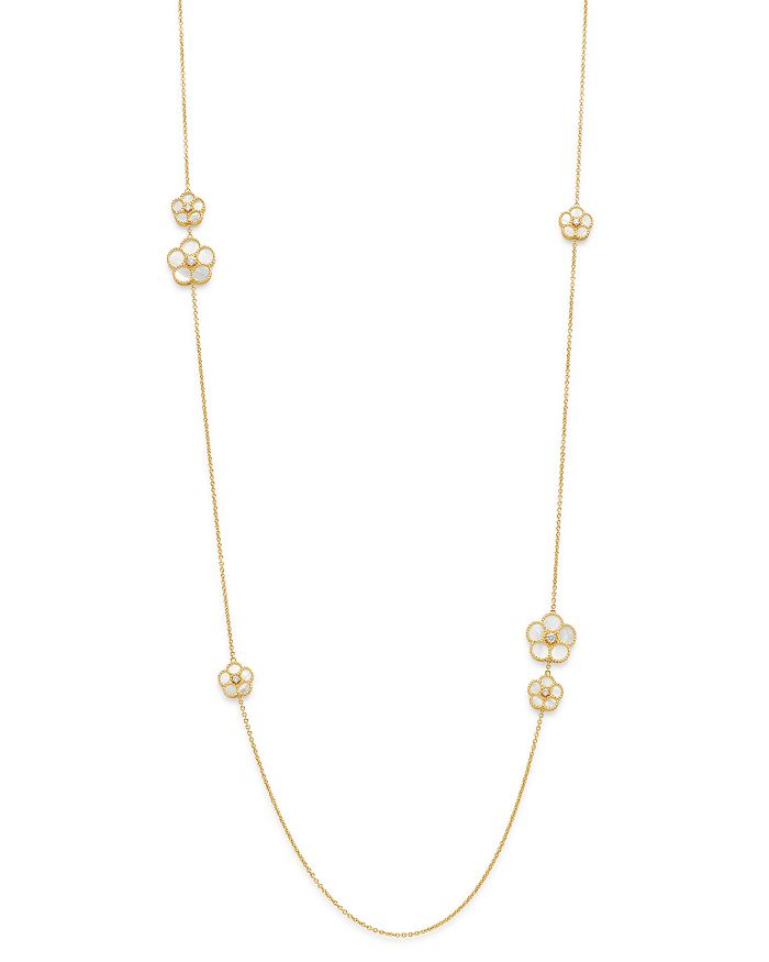"Roberto Coin - 18K Yellow Gold Daisy Mother-of-Pearl & Diamond Station Necklace, 31"" - 100% Exclusive"