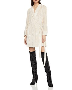 BCBGMAXAZRIA - Crushed Velvet Robe Wrap Dress