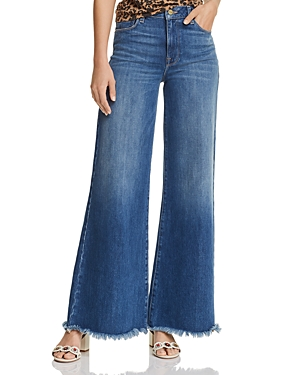 Frame Jeans LE PALAZZO RAW-EDGE WIDE-LEG JEANS IN MAGGIE MAY