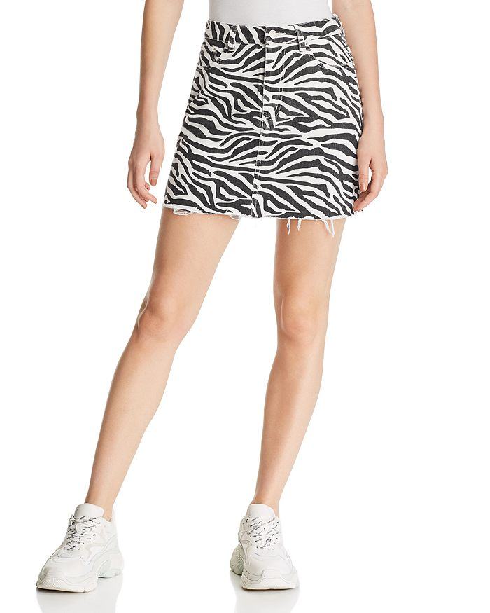 Sunset & Spring - Zebra Print Denim Mini Skirt - 100% Exclusive