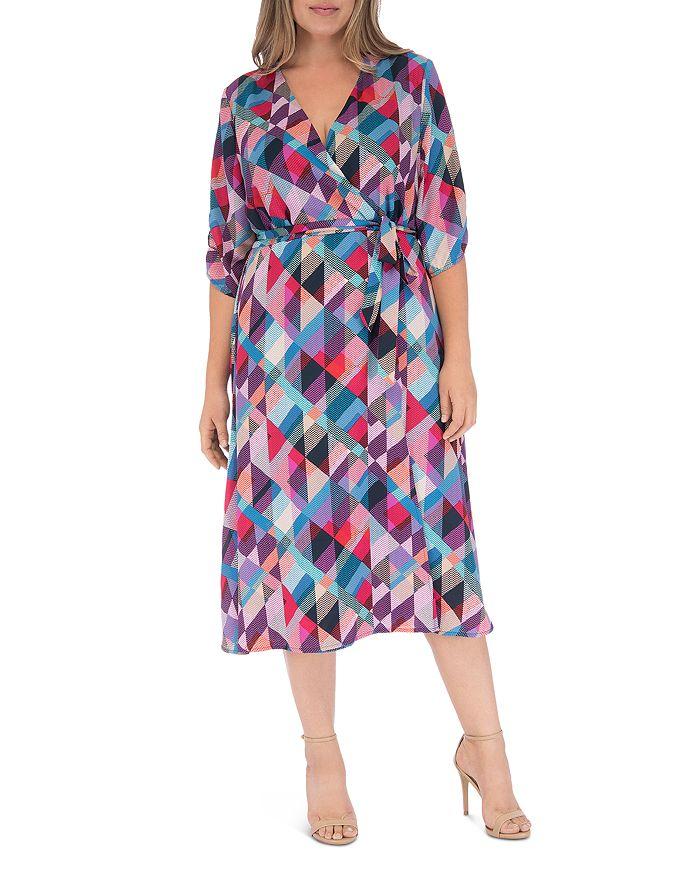 B Collection by Bobeau Curvy - Emory Geo Faux-Wrap Dress