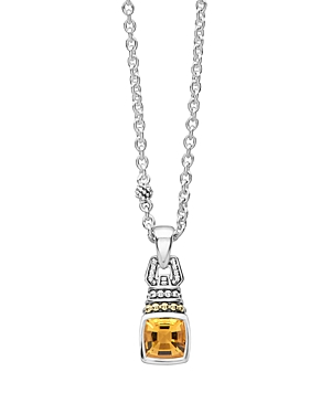 Lagos 18K Gold and Sterling Silver Caviar Color Necklace with Citrine, 16-Jewelry & Accessories