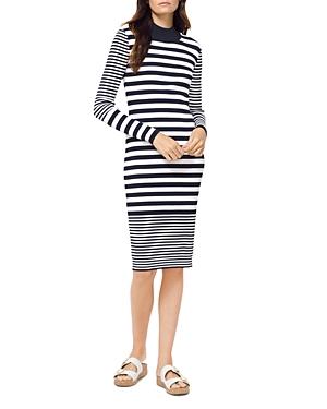Michael Michael Kors Mixed-Stripe Mock-Neck Dress