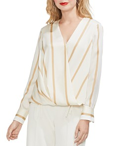 VINCE CAMUTO - Striped Crossover Top