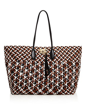 89a59ceaff8 Salvatore Ferragamo - Multicolored Woven Leather Studio Tote ...