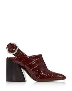 Chloé - Women's Croc-Embossed Block Heel Slingback Mules