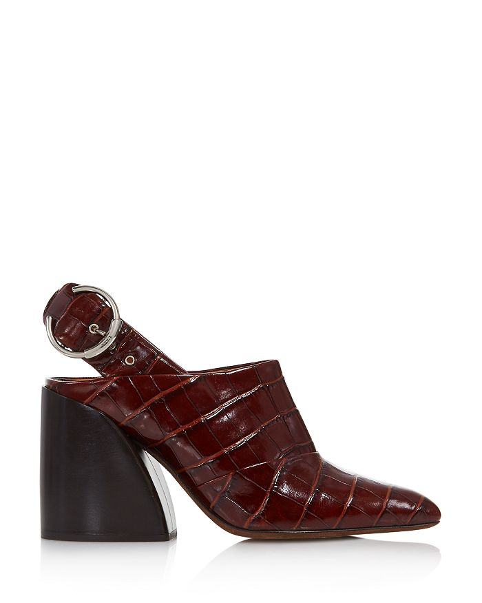 4bfea7c529d Women's Croc-Embossed Block Heel Slingback Mules