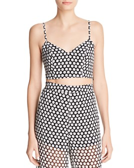 Fame and Partners - The Fernandina Sleeveless Dot-Print Cropped Top