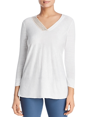 Nic And Zoe  NIC+ZOE COASTAL EMBELLISHED LIGHTWEIGHT V-NECK SWEATER