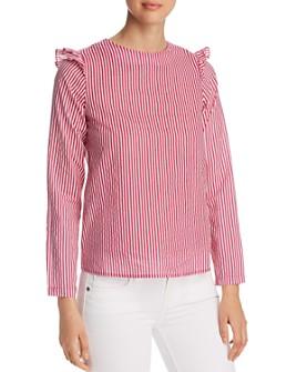 Vero Moda - Maji Striped Ruffle-Trimmed Top