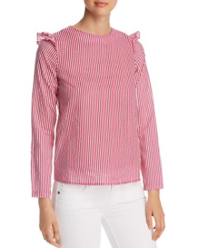 Vero Moda - Maji Striped Ruffle-Trimmed Top