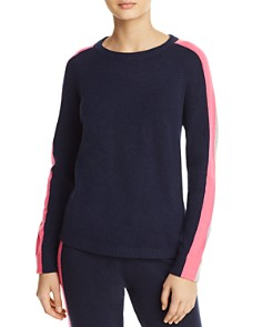 Minnie Rose - Striped-Sleeve Cashmere Sweater