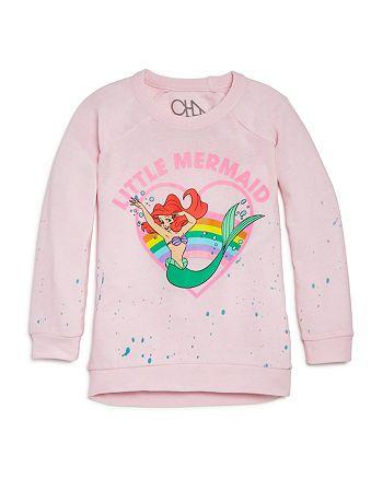 CHASER - Disney Girls' The Little Mermaid Raglan Pullover - Little Kid