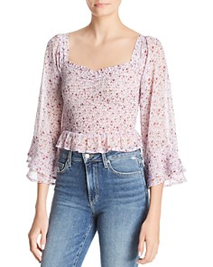 Sage the Label - Ruby Floral-Print Smocked Top