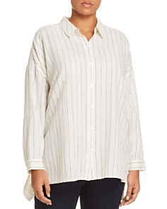Eileen Fisher Plus - Chalk Stripe Button-Down Shirt