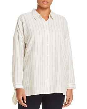 a528bd97fa7 Eileen Fisher Plus - Chalk Stripe Button-Down Shirt ...