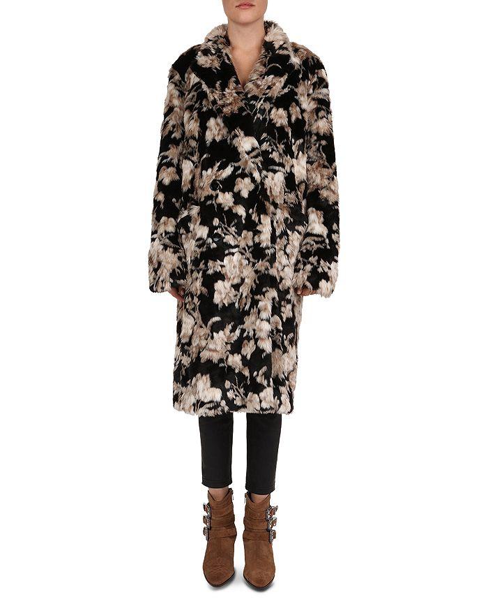 The Kooples - Floral-Print Faux-Fur Coat