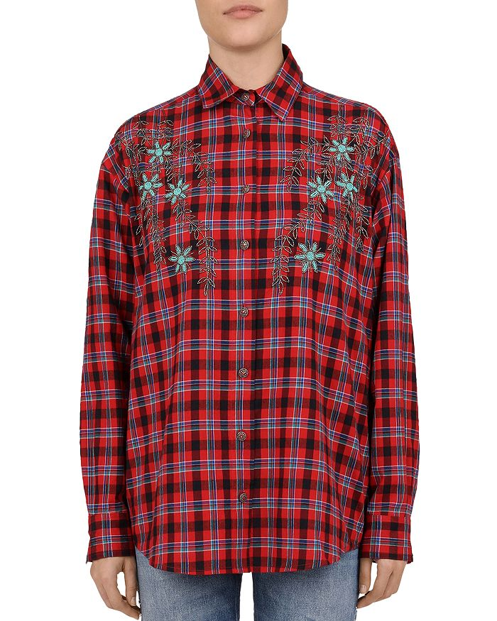 The Kooples - Beaded Floral Plaid Shirt
