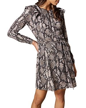 Karen Millen Dresses RUFFLED SNAKE PRINT DRESS