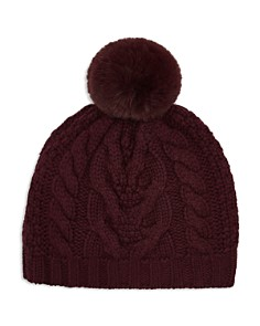 Ted Baker - Quirsa Faux Fur Pom-Pom Cable-Knit Beanie