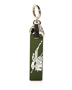 Burberry - Crest Print Leather Key Fob